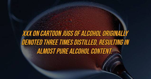 close up - Xxx On Cartoon Jugs Of Alcohol Originally Denoted Three Times Distilled, Resulting In Almost Pure Alcohol Content.