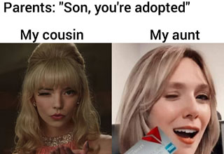 lip - Parents Son, you're adopted My cousin My aunt