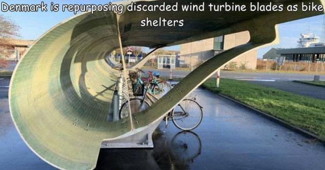 recycling wind turbine blades - Denmark is repurposing discarded wind turbine blades as bike shelters