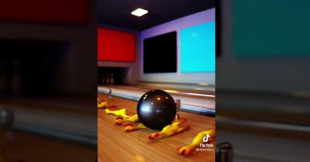 Bowling ball runs over rubber chickens