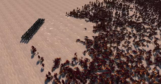 a huge battle between modern soldiers and spartan warriors