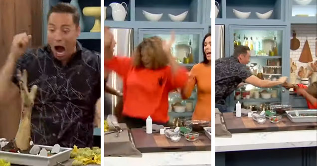Food Network hosts freak out at zombie hand prank