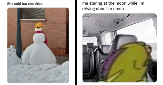 a funny meme with a thicc snowman