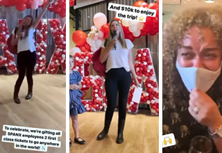 Sara Blakely surprises employees with $10k and plane tickets after billion-dollar Spanx deal