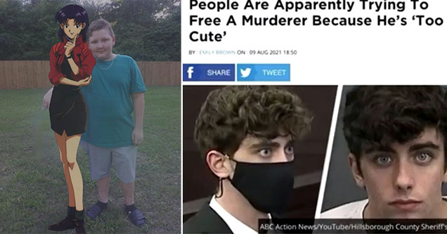 cringe pics -  people want to free a murderer because he's too cute to be in prison -  kid standing with his anime girlfriend