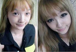 30 pics of average looking girls from China before and after applying makeup.