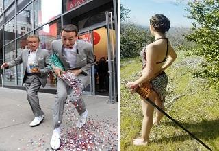 pee wee herman spilling skittles and a woman in a chainmail dress