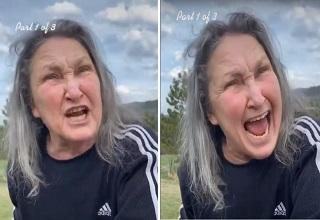 an angry woman screaming at a man | old woman neighbor yells at a guy that ruined his flowers