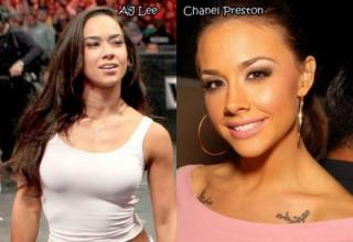 WWE Profesional wrestler AJ Lee and her porn star look-a-like Chanel Preston