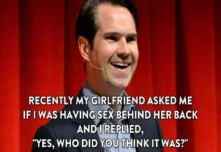a meme with comedian jimmy carr with text about having sex with his girlfriend
