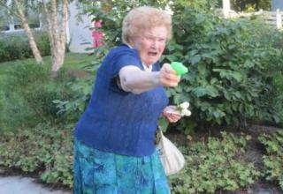 Stick 'em up. Grandma's got a gun.