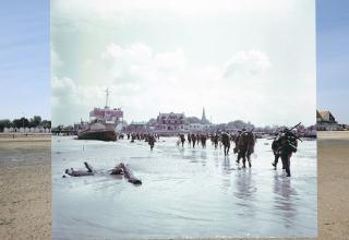 a beach present day laid over with a row of soldiers and warship