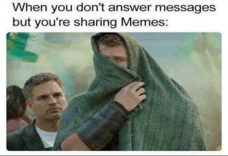 a meme from avengers with thor covering his face and text about not responding to texts but sharing memes