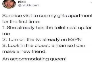 paper - nick ani benchong Surprise visit to see my girls apartment for the first time 1. She already has the toilet seat up for me 2. Turn on the tv already on Espn 3. Look in the closet a man sol can make a new friend. An accommodating queen!