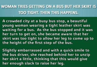 When this woman couldn't board the bus because her skirt was too tight, the man behind her did something unexpected to help her.