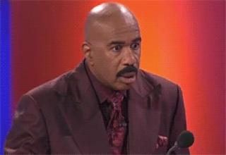 Gifs of classic Steve Harvey reactions from his time on The Family Feud gameshow.