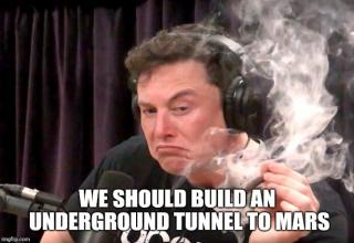 "Last night Elon Musk went on Joe Rogan's podcast to talk about space, Musk's brain, shoot a flamethrower, drink whiskey, and smoke a blunt... awkwardly. Here are the internet's best memes and reactions. <br><br> <strong>UPDATE:</strong> Tesla just unveiled their new <em>Cybertruck</em>, which has led to some pretty <a href=""https://www.ebaumsworld.com/pictures/telsa-cybertruck-memes/86123004/"">hilarious memes</a>. Check em out while you're at it."