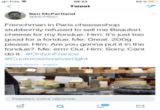 Frenchguy made him swear not to misuse the cheese, wonder if he would get actually sick if he saw these posts.