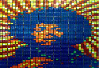 Even complex images with wide variation in color, shade and intensity can be successfully rendered using Rubikcubism but as always, the more cubes and thus, more pixels, the more detail which can be rendered. The above Atomic Bomb blast took 294 Rubiks Cubes to create and the six colors of the basic Cube red, orange, yellow, white, green, and blue