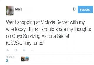 A husband had to go shopping in Victorias Secret with his wife. This is how he spent his time.