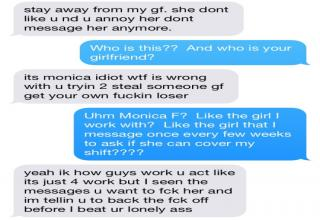Douchebag gets shown his place in a test conversation he made from his GF's phone.