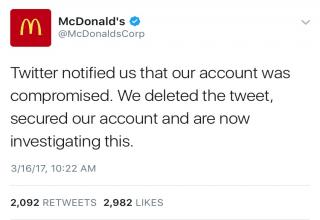 Mcdonald's hacked account was trashing Trump.   Was it The King, or perhaps Wendy?