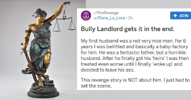 a statue of lady liberty holding the scales and a photo of text from a post about a bully landlord