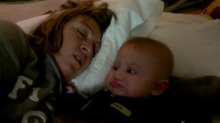 Snoring Mom Scares Baby - Video   eBaum's World