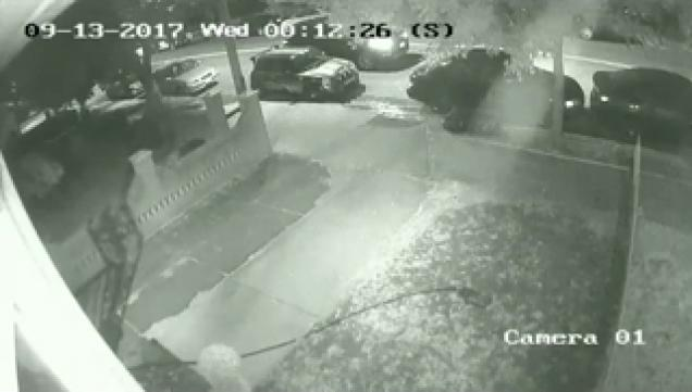 night camera of home driveway | revenge video - a guy goes after a neighbor that parked in his driveway