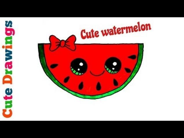 How To Draw A Cute Watermelon Easy Step By Step Kawaii Watermelon Wow Video