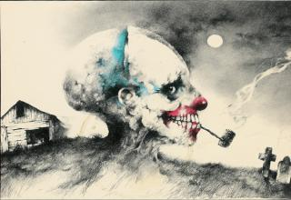 These were the drawings of Stephen Gammell that kept us up at night as kids. They're dark, brooding, creepy and down right macabre. A few years ago they changed these to much more PG cartoony versions that just don't pack the same nightmare inducing qualities.