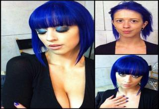 Adult film stars with and without makeup