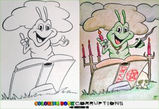 "A  collection of illustrations from children's coloring books that have been garbled and corrupted by darkly funny adults, from <a href=""http://coloringbookcorruptions.com/"" target=""_blank"">Coloring Book Corruptions</a>."