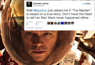 "Tweets about the movie ""The Martian"" from people who think it's real."