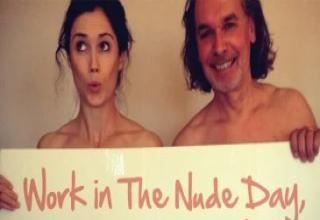 Happy Working Naked Day. I just think this would be better observed in say, May? Here are 23 people who braved the cold to fulfill the day requirements.
