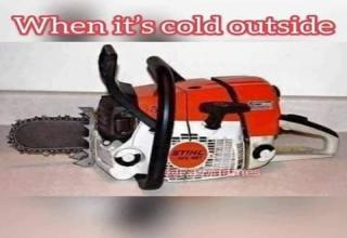 funny meme with a chainsaw and a joke about shrinkage