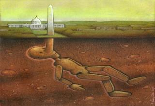 Polish artist Pawel Kuczynski has worked in satirical illustration since 2004.