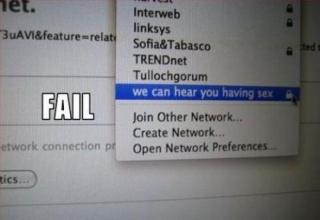 Funny and clever names for networks and hotspots.