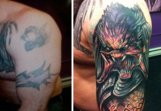 Tattoo artist's transformed mistakes into serious works of art.