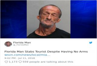 "Florida Man things so bizarre you'll have to read them twice. <br> If you are like ""WTF is this all about"" then probably worth for you to read the <a href=https://knowyourmeme.com/memes/florida-man>Florida Man</a> page on Know Your Meme to get you up to speed. Also, make sure to check out the <a href=""https://www.ebaumsworld.com/articles/the-florida-man-challenge-is-the-best-thing-happening-on-the-internet-right-now/85916868/"" target=new>Florida Man Challenge</a>."