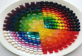 a bowl of colorful organized candies