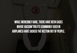 a photo of an airplane toilet with text about your rectum being sucked out of your butt