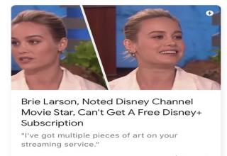 a meme with brie larson being entitled hairstyle - Brie Larson, Noted Disney Channel Movie Star, Can't Get A Free Disney Subscription