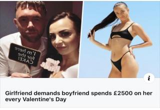 a woman who demands her boyfriend spend 2500 on her every valentines