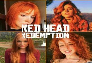 a red head redemption meme with 4 red haired women