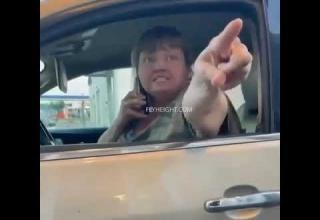 angry karen at drive-thru